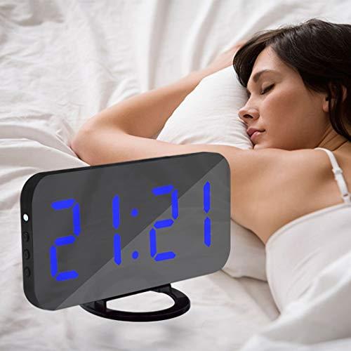 Wekker op het bed, beweegbaar led-spiegeloppervlak met 2 USB-poorten, 3 dimmodus 6,2 inch LED-display voor slaapkamer, woonkamer, kantoor en reizen