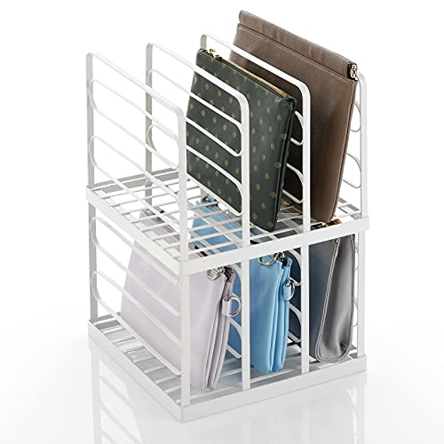 mDesign Expositor de metal para bolsos de mano – Prácticos soportes para carteras, monederos, billeteros, etc. – Organizador de bolsos alto con 5 ranuras – Juego de 2 – blanco mate