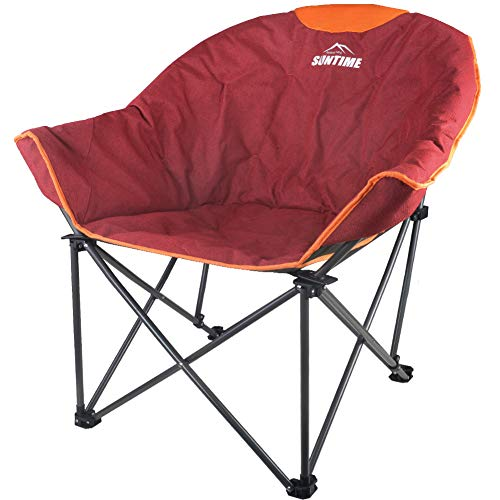 Suntime Sofa Chair, Oversize Padded Moon Leisure Portable Stable Comfortable Folding Chair for Camping, Hiking, Carry Bag (Red)