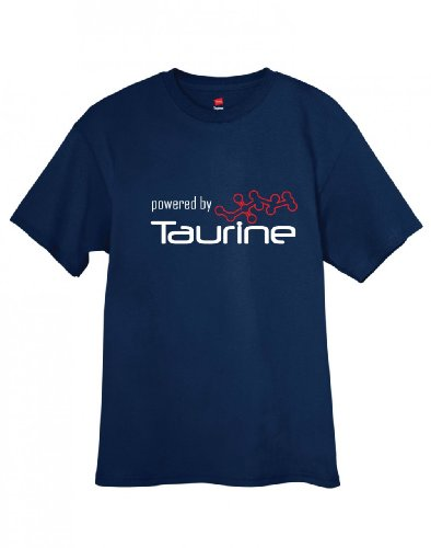 shirtloco Men's Powered by Taurine T-Shirt, Navy Blue Large