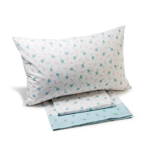 Caleffi Bettlaken Dory hellblau 100prozent Baumwolle Einzelbett (Oberlaken 160 x 280 cm + 1 Spannbettlaken 90 x 200 cm mit Spannbettlaken + 1 Kissenbezug 50 x 80 cm)