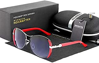 HDCRAFTER Sunglasses - Women - Black color lenses - frame color red