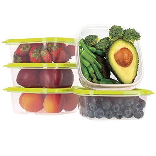Oursson Set di Contenitori Alimentari Ermetici Salvafreschezza in plastica Senza BPA, con Coperchio Verde, CP2581-1S/GA (5 x 400 ml, Verde)