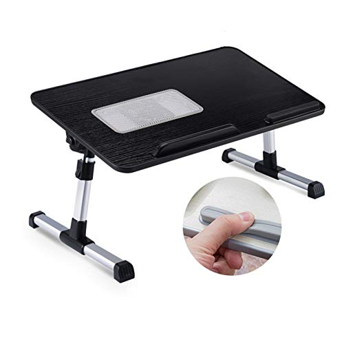 Laptop Stand With Built-in USB Cooling Fan, Oversized Adjustable Desk Can Be Used On Bed Sofa -4 Gear Adjust Raised And Lowered Table Legs Anti-pinch Hand Design