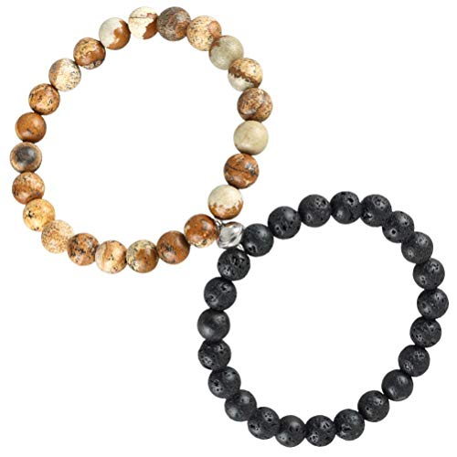 Oyria 2 Pcs Couples Bracelets Friendship Bracelet Magnetic Mutual Attraction Relationship Matching Distance Bracelet Stone Beads Bracelets for Boys Girls