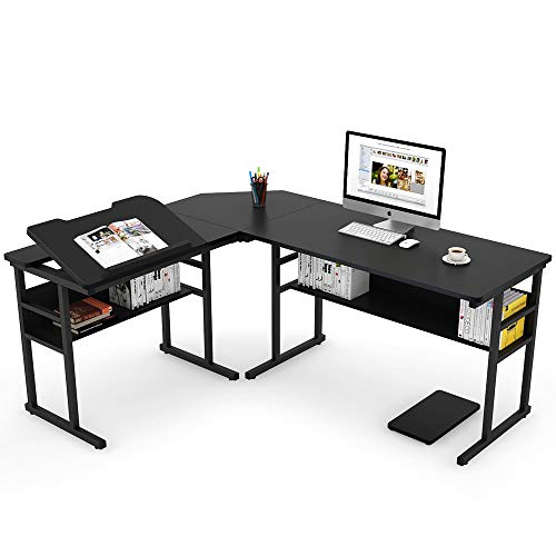 Tribesigns-Modern-L-Shaped-Desk-with-Bookshelf-67-Double-Corner-Computer-Office-Desk-Workstation-Drafting-Drawing-Table-with-Tiltable-Tabletop-for-Home-Office
