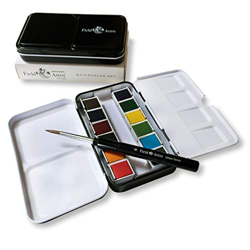 Field Artist Pro 12HP Urban Series - Complete Travel Watercolor Set with 12 Half pan Colors and Travel Brush, and a Classic Metal Field Box, All fits in Your Pocket!