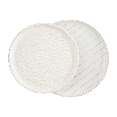 Mud Pie 40700334 - Platos de cerámica, color blanco