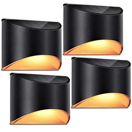 ソーラーライト 屋外 防水 暖色系 LED ガーデン 玄関 庭 階段 足元 壁 柵 光センサー 自動点灯 太陽光発電 常時点灯 両面テープ付き おしゃれ 黒 4個セット LeiDrail製
