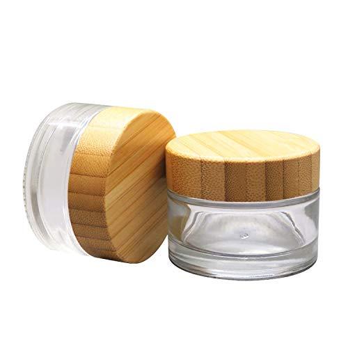 Lot de 100 bocaux vides en verre pour crème avec bouchon en bambou, 50 ml