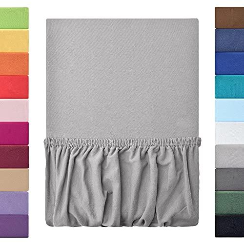 leevitex® Kinder Jersey Spannbettlaken, Spannbetttuch 100% Baumwolle in vielen Größen und Farben MARKENQUALITÄT ÖKOTEX Standard 100   70x140 cm - Silber Grau