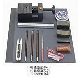 KunmniZ - Set di scalpelli per intagliare la pietra, 15 pezzi con sigillo cinese in pietra e timbro in legno intagliato