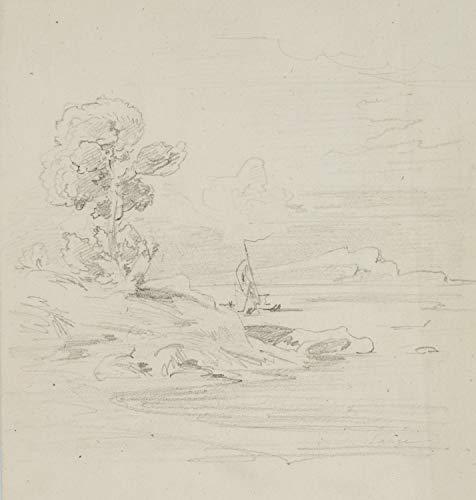 H. W. Fichter Kunsthandel: J.Lange(*1817), Landschaft mit Segelboot, 19.Jhd, Bleistiftzeichnung