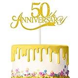 3 Piezas Toppers de Tarta de Aniversario de 50 Años Adornos de Tartas de Cumpleaños Brillantes Decoración de Pastel Palillos para Cumpleaños Boda Aniversario Celebración (Dorado)