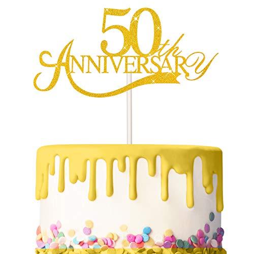 3 Pezzi Topper di Torta 50 Anniversario Glitter Topper di Anniversario Compleanno 50 Torta Decorazione Torta per Compleanno Nozze Anniversario Celebrazione Forniture (Oro)