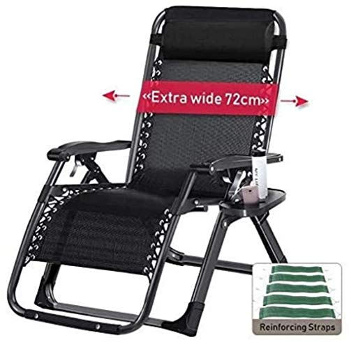 Chairs Oversized for Heavy Duty People, Wide Patio Recliner Sun Lounger for Beach Sunbathing, Support 440lbs (Color : Silver),Colour:Black (Color : Black)