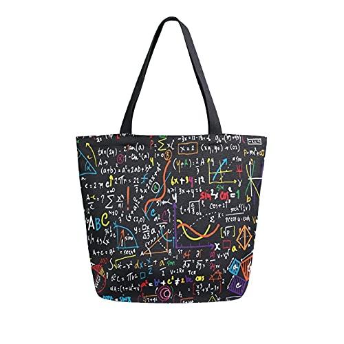 MeetuTrip - Bolsa de lona con diseño de fórmula matemática, grande, reutilizable, bolsa de compras, bolso de hombro casual para la escuela, adolescentes, niñas, mujeres, viajes, profesora de playa