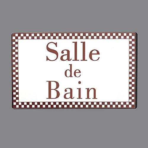 chemin_de_campagne Plaque de Porte Salle de Bain Fer Blanc Entourage Vichy Bordeaux Rectangulaire 15 cm