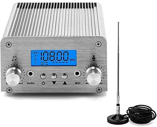 FM Broadcast Transmitter, Elikliv 76~108MHz Wireless Radio Stereo Broadcast 6W LCD PLL FM Transmitter for Church Radio Station Car Theater