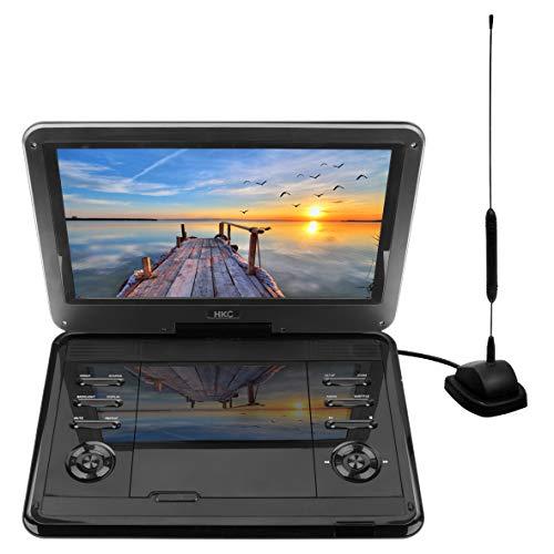 D12HBDT 12 inch draagbare tv met dvd-speler (HD 1366x768p, ingebouwde batterij, SD-kaartsleuf, USB-poort, afstandsbediening, autolader), zwart