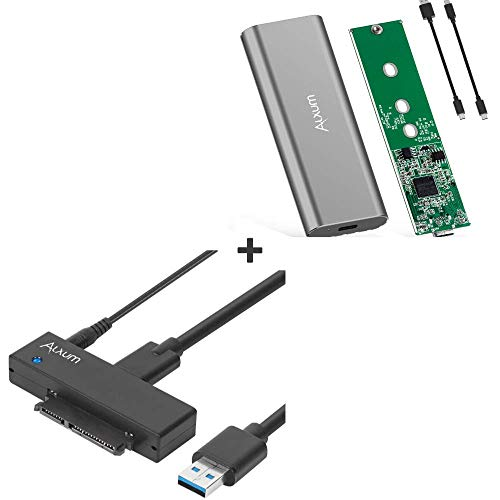 Bundle Alxum USB 3.0 to SATA Converter for Universal 2.5 & 3.5 inches SATA HDD SDD & Alxum M.2 SSD Enclosure Suitable for NVMe M-Key M.2 SSDs