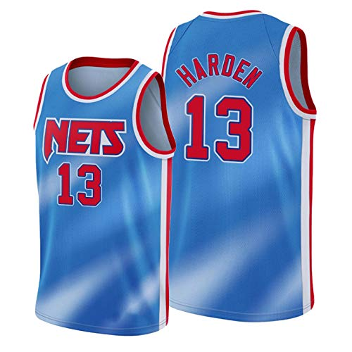 WDGZ 2021 Jǎmes Hǎrden Herren Basketball Trikot,Něts 13# Jugend Sportswear Atmungsaktiver Basketball Swingman Training Tops Hartholz Classics Trikot Blue-S