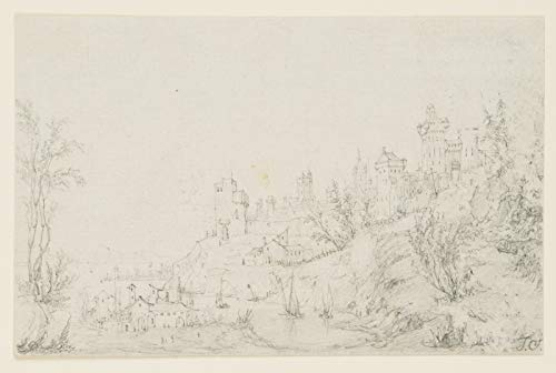 H. W. Fichter Kunsthandel: Anonym (I.S.) (19.Jhd), Stadt und Festung am Wasser, Zeichnung