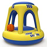 Hoop Shark Swimming Pool Basketball Hoop Set by FLOAT-EEZ - Yellow/Blue 2020 Edition - Inflatable Hoop with Ball Included - Perfect for Competitive Water Play and Trick Shots - Ultimate Summer Toy