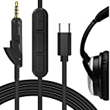 Geekria QuickFit Cable with Mic Compatible with Bose QuietComfort QC2, QC15 Headphones Cable, Type-C Replacement Stereo Cord with Inline Microphone and Volume Control (Black 5.6ft)