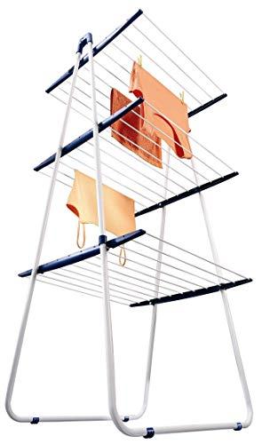 Leifheit Turmtrockner Pegasus Tower 190, 19m Leinenlänge für 2 Waschmaschinenladungen, kompakter Wäscheständer inkl. Kleinteilehalter, Standtrockner mit 3 abklappbaren Ebenen, ideal für die Dusche