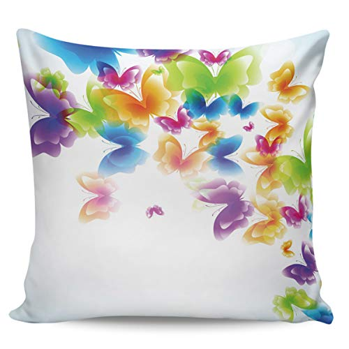 Scrummy Fundas de almohada de 40,64 x 40,64 cm, diseño de mariposas brillantes y coloridas y brillantes, estilo abstracto, para decoración del hogar
