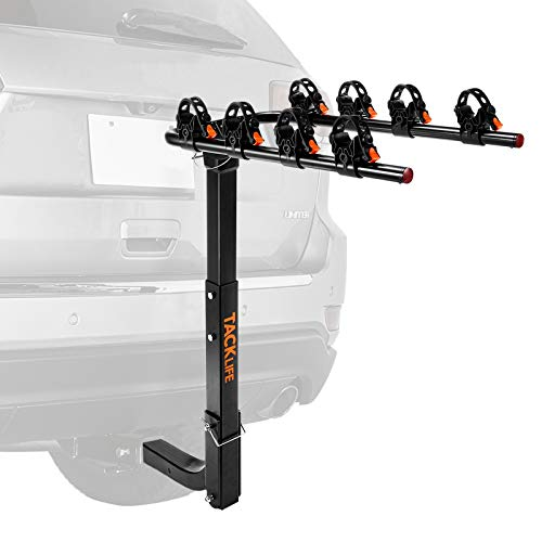 TACKLIFE 4-Bike Rack for Car, SUV, Sedans, Hatchbacks and Minivans - Bicycle Car Carriers, Hitch Bike Rack