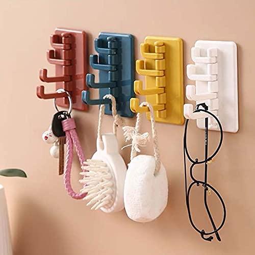 Angou 4 ganchos autoadhesivos coloridos para pared, autoadhesivos, para baño, baño, cocina, oficina, perchero para niños, gancho para toallas (multicolor)