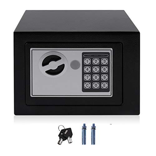 Cassaforte Elettronica in Acciaio Solido con Blocco Tastiera Digitale 4.6L Mini Custodia per Gioielli con Serratura Scatola di Sicurezza per Denaro contante (Balck) ITjasnyfall