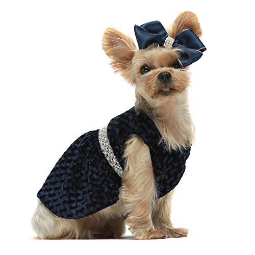 Fitwarm Valentines Day Luxury Dog Dresses for Pet Clothes Party Gowns Evening Prom Dress + Matching Hair Clip Blue Medium