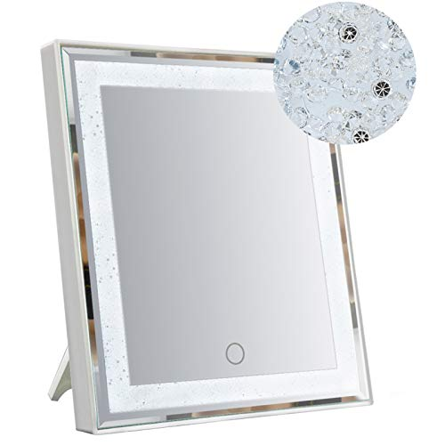 HORLIMER Makeup Mirror with Lights and Glitter Decor Touch Screen Dual Power Supply LED Lighted Vanity Mirrors for Desk and Wall White 106x126 inches