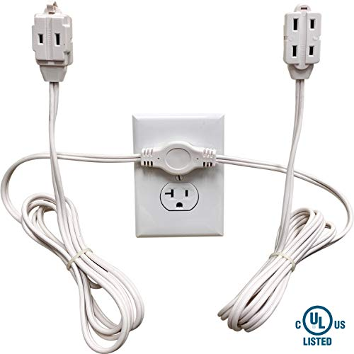 Twin Extension Cord Power Strip - 12 Foot Cord - 6 feet on Each Side - Flat Head (Wall Hugger) Outlet Plug - 6 Polarized Outlets with Safety Cover