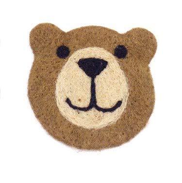 『クマフェイス コースター』:茶クマ ※一つ一つ表情が異なります。お任せの発送となります。【キッチン 逃げ恥 ガッキー 北欧 ティーマット キッチン インテリア フェルトコースター ウール 羊毛 手作り 厚手 クマコースター ラウンド フェルトボール スリ