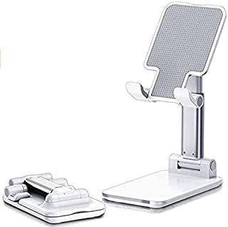 Mobile phone holder, foldable portable desk stand, height and angle adjustable phone stand, solid aluminum metal stand for...