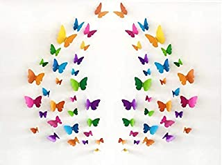 JAAMSO ROYALS Multi Colour 3D Colorful Crystal Butterfly Wall Stickers with Adhesive Art Decal Satin Paper Butterflies(29....