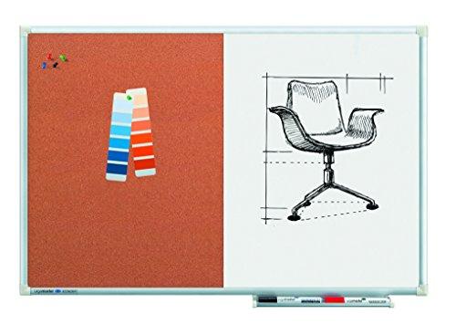 Legamaster 7-102443 Economy Kombiboard, Whiteboard und Pinboard in einem, 90 x 60 cm