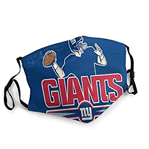 WYeter New-York-Giants Football Filtered Breathable Face Mask Funny Windproof Face and Mouth Cover for Dust Outdoors Festivals Sports Black