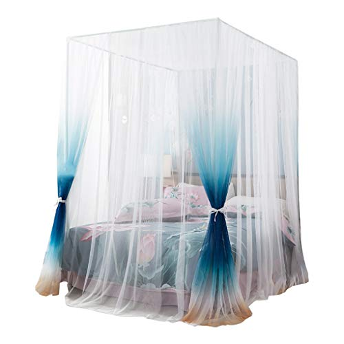 Review MUQING Double-Layer Mosquito Net Court Family Princess Wind 1.5M1.8 M Bed Pattern Account Floor Stand Encryption Thickening European Style (Ink Gray, Ocean Blue),Oceanblue,1.8m