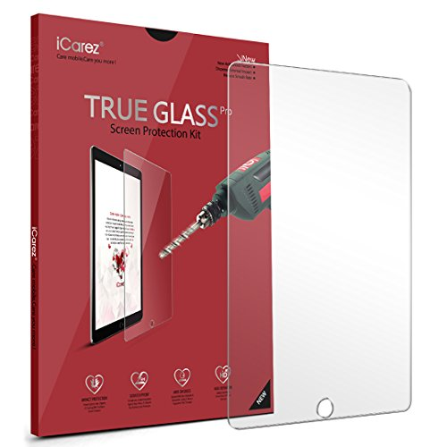 iCarez [Tempered Glass Premium Screen Protector for Apple 9.7-inch iPad Pro/iPad Air 2 /iPad Air / (2017 2018) New iPad Anti-Scratch 9H Easy to Install [1 Pack] Retail Packaging