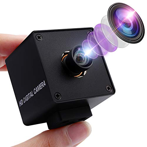 4K Webcam Mini USB Kamera mit 170 Grad Fisheye Objektiv, Ultra HD 2160P Web Kamera mit IMX317 Sensor Minicam Aluminiumgehäuse Webkamera Plug & Play für Windows, Android, Mac, Linux Web Cams