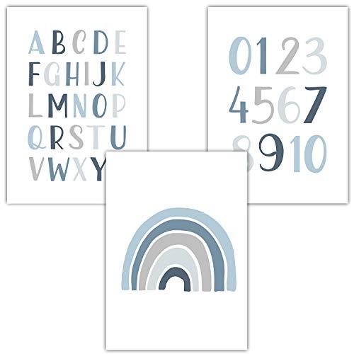 Frechdax® 3er Set Kinderzimmer Poster Babyzimmer DIN A4 ohne Bilderrahmen | Mädchen Junge | Kinderposter Bilder (3er Set Blau, Alphabet, Regenbogen)