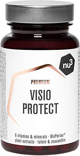 nu3 Premium Visio Protect – 60 cápsulas – Vitaminas para los ojos – Protege y mantiene una visión normal – Complejo con 10mg de luteína, 2mg de zeaxantina & BioPerine® – Suplemento vegano