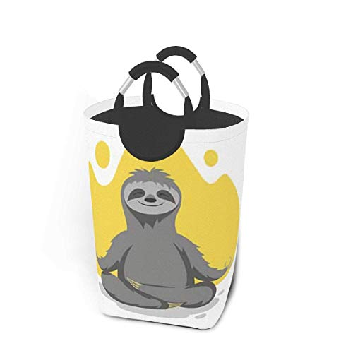 Happy Cute Sloth Practicing Animals Large Laundry Basket Sea Fish Tail Collapsible Laundry Hamper with Handles Waterproof Durable Clothes Washing Bin Dirty Baskets Storage for Home College Dorm Bathro
