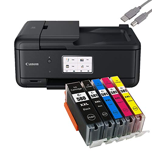 Canon PIXMA TR8550 Tintenstrahldrucker Multifunktionsgerät schwarz (Drucker, Scanner, Kopierer, Fax) + USB Kabel & 5 komp. YouPrint Druckerpatronen (Drucken per USB oder WLAN)