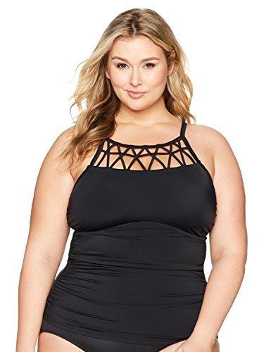 Amazon Brand - Coastal Blue Women's Plus Size Swimwear Lattice Detail Tankini Top with Shirring, Black, 1X (16W-18W)